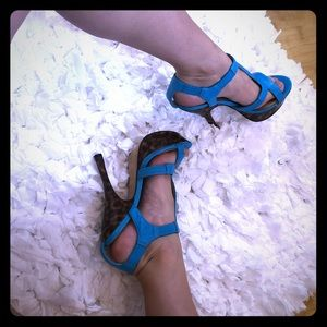 Blue & brown Bebe platform heels strappy turquoise